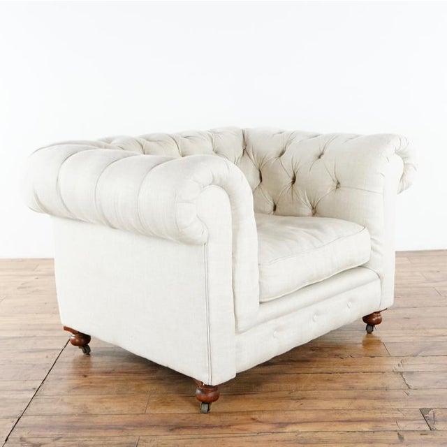 Restoration Hardware tufted Kensington Chair. Brand is Restoration Hardware. Model is Kensington. Original Price $1,465.00.