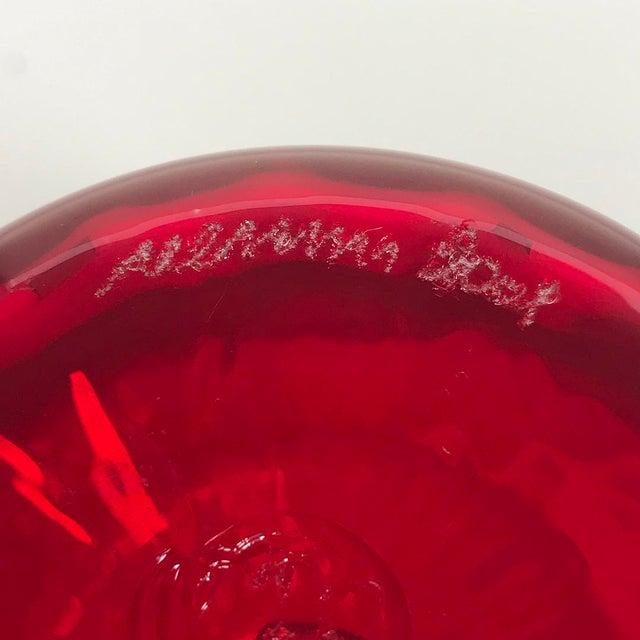 Murano, Venini & Co. Venini Murano Italy Red Optical Ribbed Classic Vase For Sale - Image 4 of 5