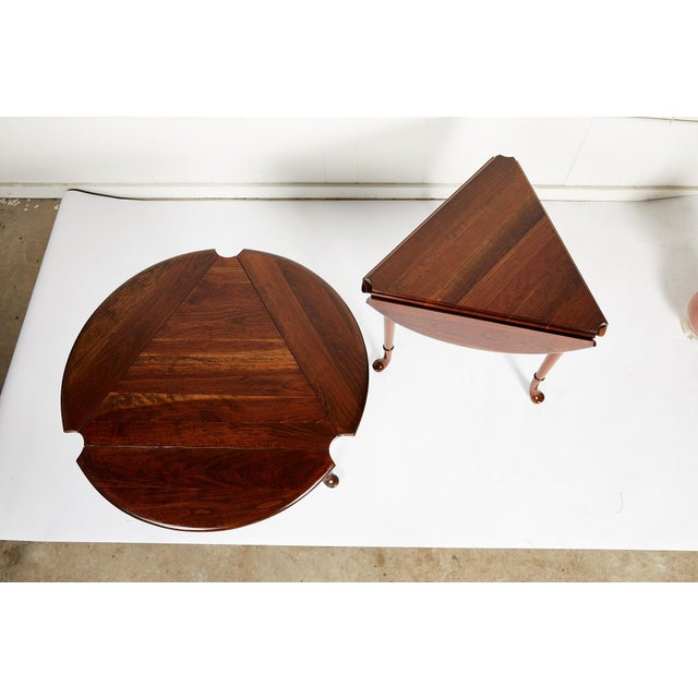 Mid 20th Century Pair of Vintage Statton Drop Leaf Tea Tables of Solid Cherry For Sale - Image 5 of 12