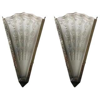 Pair of French Art Deco Fan Sconces by Genet Et Michon For Sale