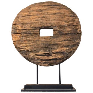 Antique Rustic Mounted Ox Cart Wooden Wheel on Base from Thailand, 19th Century For Sale