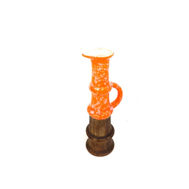 Mid Century Modern Orange Splatter & Faux Bois Pottery Art Display Vase | Single Handle Ewer | Large Statement Size Pitcher For Sale In Los Angeles - Image 6 of 13