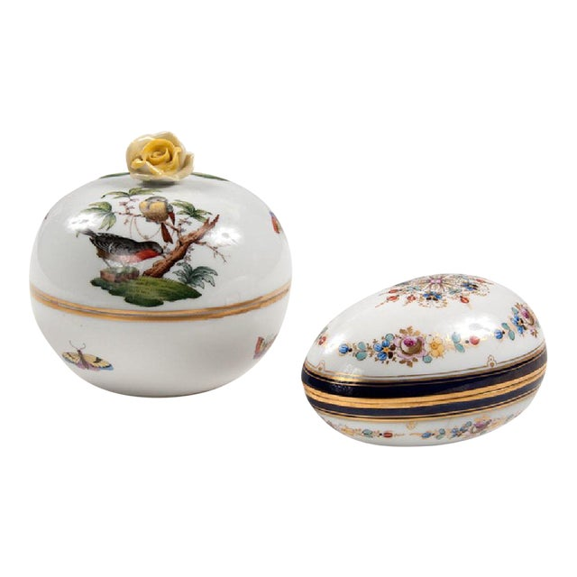 Meissen & Herend Continental Porcelain Boxes - A Pair For Sale