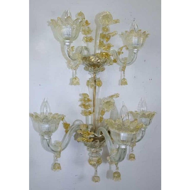 Spectacular Venetian Italian Gold Infused Murano Glass Sconces For Sale - Image 4 of 6