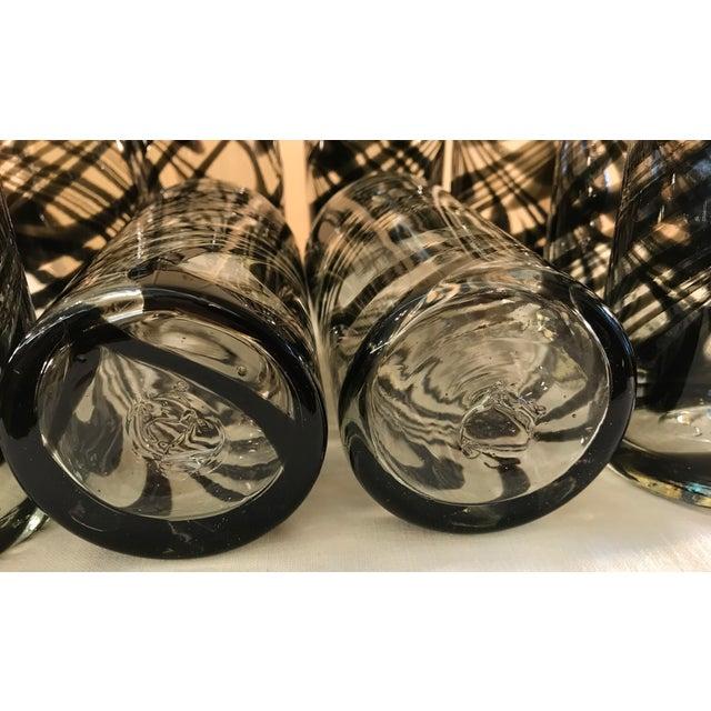 Vintage Hand-Blown Black Swirl Tumbler Glasses - Set of 10 - Image 11 of 11