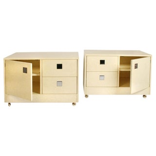 1970s Directional Mod Rolling Night Box Bedside Tables - a Pair For Sale