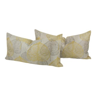 Silver-Gray Yellow Damask Throw Pillow, a Pair For Sale
