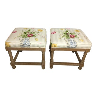 Shabby Chic Floral Distressed Wood Bench Seats - a Pair For Sale