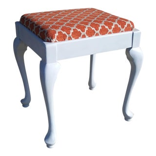 1950s Hollywood Regency Queen Anne Vanity Stool Bench