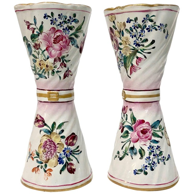 1870s St. Clement French Faience Majolica White Pink Flower Vases - a Pair For Sale
