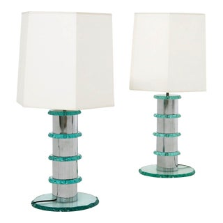 Pair of Italian Contemporary Table Lamps in Hammered Glass and Steel, 2010s For Sale