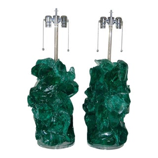 Glass Rock Lamp Sculptures in Jade Green For Sale