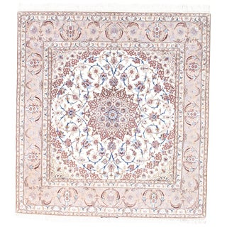 "Pasargad Persian Isfahan Hand-Knotted Silk & Korker Wool Rug - 6'9"" X 7'3"" For Sale"