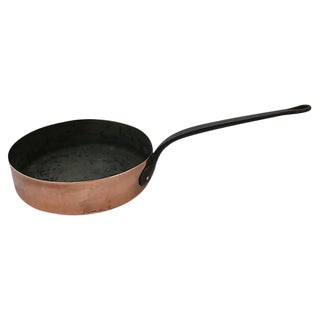 Large Antique French Copper Saute Pan For Sale