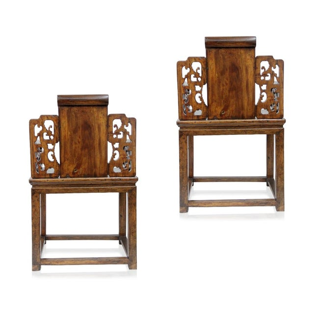 Antique Chinese Qing Armchairs - A Pair - Image 7 of 8