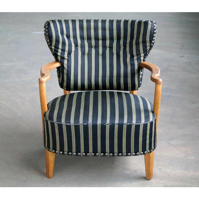 Brass Otto Schulz Style Lounge Chair in Oak with Brass Tacks Danish Mid-Century For Sale - Image 7 of 11