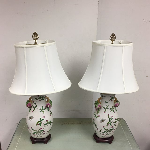 Handpainted Asian Table Lamps - A Pair - Image 7 of 7