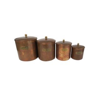 Vintage Copper Brass Stainless Flour Sugar Coffee Tea Graduated Canister Set of 4