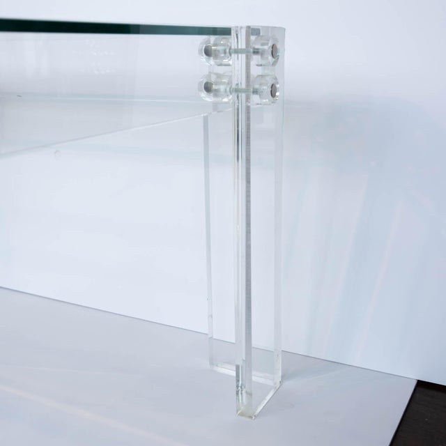 Glass Lucite and Glass Coffee Table For Sale - Image 7 of 8