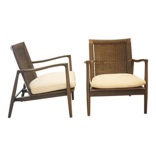 Crate & Barrel Gray Wood Chairs - a Pair For Sale
