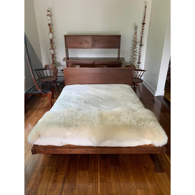 Platform Bed With Walnut Headboard in the Style of George Nakashima For Sale - Image 10 of 11