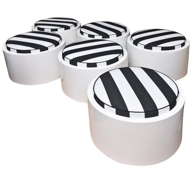 Black 1970s White Lacquered Resin & Upholstered Round Outdoor Pool/ Patio Benches- Set of 6 For Sale - Image 8 of 8