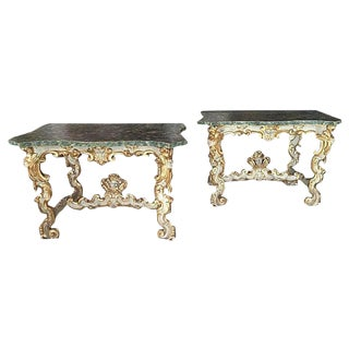 Rare and Dramatic Carved Pair of Italian 18th Century Parcel Gilt and Painted Console Tables For Sale