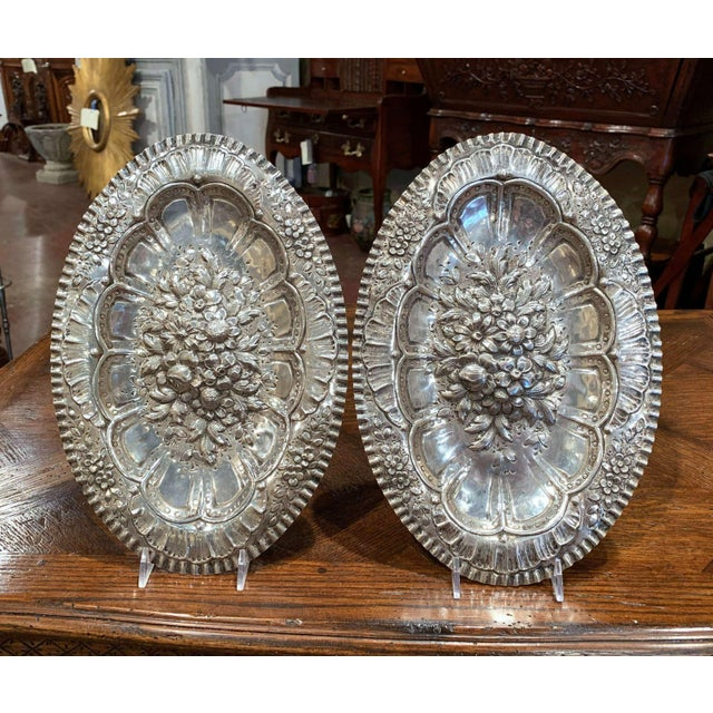 Silver Pair of 19th Century French Repousse Silver Oval Wall Plaques For Sale - Image 8 of 8