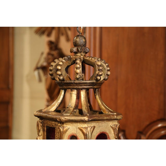 Giltwood 18th Century Italian Carved Giltwood Three-Light Lantern With Stained Glass For Sale - Image 7 of 13