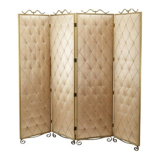 Rene Prou Pale Rose Four Fold Room Screen With Gold Leaf Wrought Iron Accent For Sale