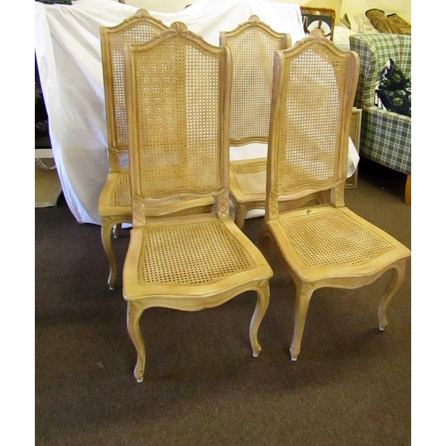 Caning Baker Tall Back Cane & Carved Wood Dining Chairs - Set of 4 For Sale - Image 7 of 8