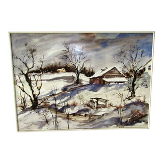 1960s Vintage Winter Scene Watercolor Framed Painting For Sale