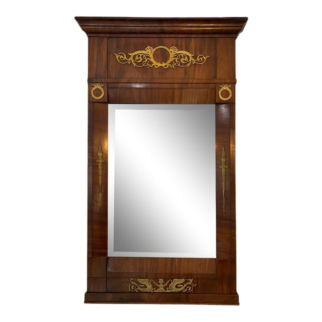 French Empire Mahogany Trumeau Mirror 1810-1820 Antique With Original Mirror For Sale