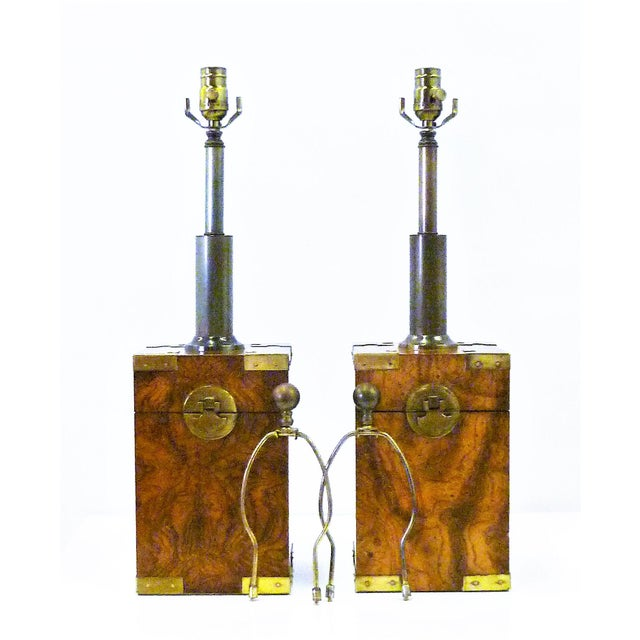 1970s Campaign Style Burl Wood Faux Tea Box Table Lamps - a Pair For Sale - Image 13 of 13