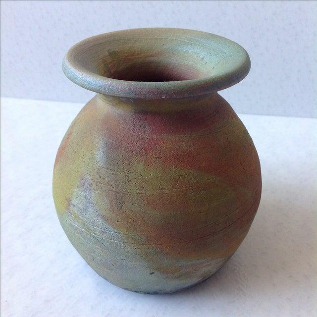 Earth Tone Raku Pottery Vase - Image 10 of 11