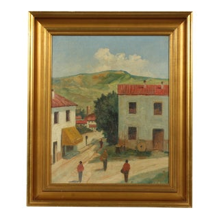 Small Village Oil Painting by Jacob Meyer For Sale