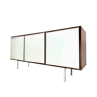 Modern Credenza With Frosted Glass Panel Fronts For Sale