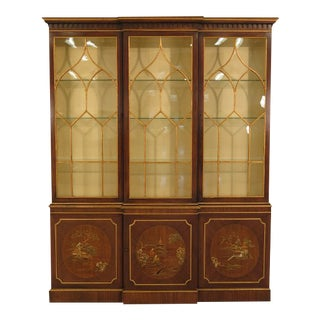 Baker Chinoiserie Decorated China Cabinet Breakfront