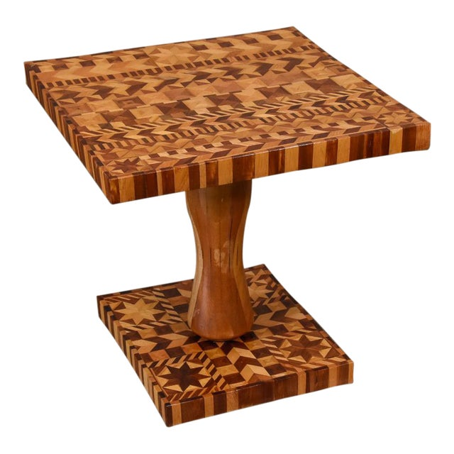Folk Art Marquetry Side Table For Sale