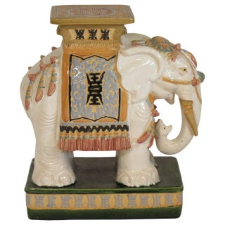 1960s Italian Ceramic Elephant Garden Stool For Sale