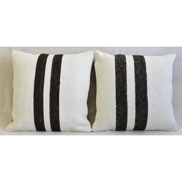Pair of custom-tailored pillows created from hand/knotted hemp-and-cotton blended textile kilim carpet/rugs from the...