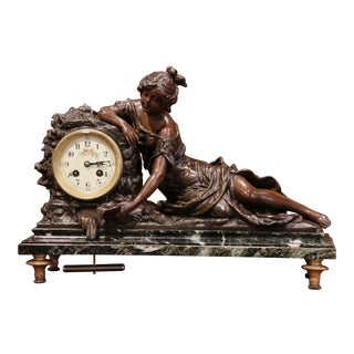 19th Century French Bronze and Marble Mantel Clock Signed L & F Moreau For Sale