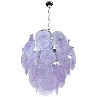 Modernist Handblown Murano Tranluscent Lavender Four-Tier Disc Chandelier For Sale