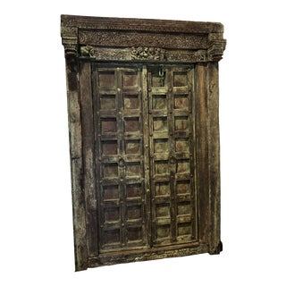 Late 19th Century Antique Indian Teak Door For Sale