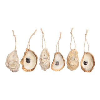 Gold Rimmed Oyster Shell Ornaments, Set of 6 For Sale