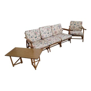 20th Century Rattan Bamboo Sofa Chair Patio Set- 3 Pc For Sale