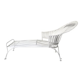 Mid-Century Modern Fan-Back White Iron Patio Chaise Lounge