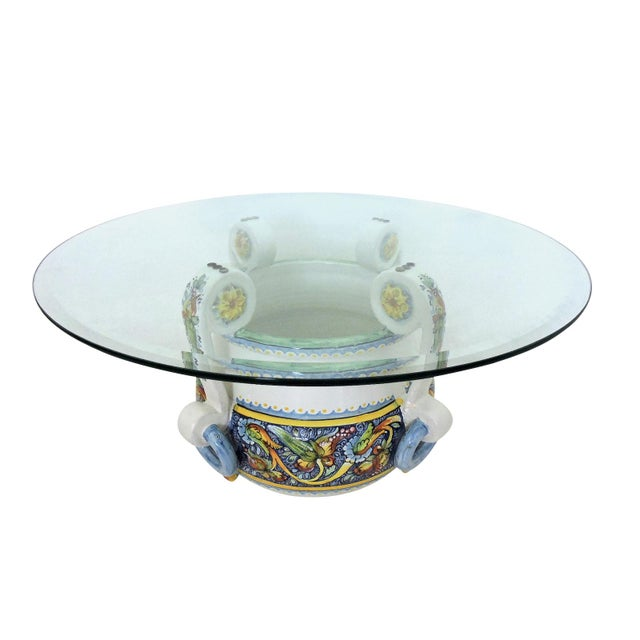 Boho Chic Magnificent Vintage Italian/Sicilian Ceramic Jardiniere, Planter or Coffee/Side Table For Sale - Image 3 of 7