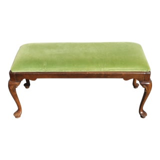Ethan Allen Mid-Century Modern Louis XV Style Walnut Sitting Bench For Sale