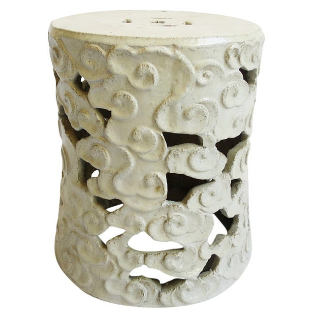 White Ceramic Cloud Garden Stool - Image 1 of 3
